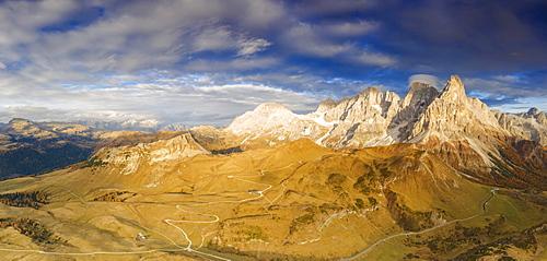 Aerial panoramic of Cimon della Pala and Castellaz in autumn, Pale di San Martino, Rolle Pass, Dolomites, Trentino, Italy, Europe