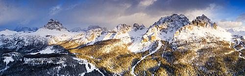 Panoramic by drone of Cadini di Misurina peaks and Tre Cime di Lavaredo at sunset, Dolomites, Auronzo di Cadore, Veneto, Italy, Europe