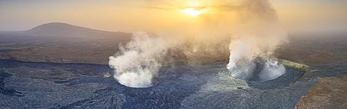 Panoramic of Erta Ale volcano at sunset, Danakil Depression, Afar Region, Ethiopia, Africa