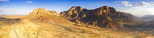 Aerial panoramic by drone of the desert valley at feet of Gheralta Mountains, Hawzen, Tigray Region, Ethiopia, Africa