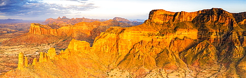 Sunset over red rocks of Gheralta Mountains, aerial view by drone, Hawzen, Tigray Region, Ethiopia, Africa
