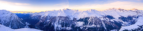 Snowy peaks of Valle Spluga at sunset, aerial view, Valchiavenna, Valtellina, Lombardy, Italy, Europe