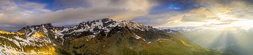 Aerial view of Monte Disgrazia and Bernina mountain range at dawn, Valmalenco, Valtellina, Lombardy, Italy, Europe