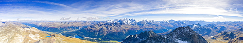 Panoramic aerial view of Piz Julier, Piz Albana and St. Moritz in the background, Engadine, canton of Graubunden, Switzerland, Europe