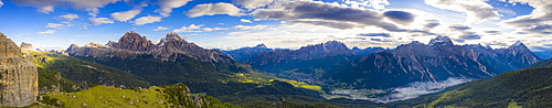 Aerial panoramic of Tofane, Monte Cristallo, Sorapiss and Antelao, Ampezzo Dolomites, Belluno province, Veneto, Italy, Europe