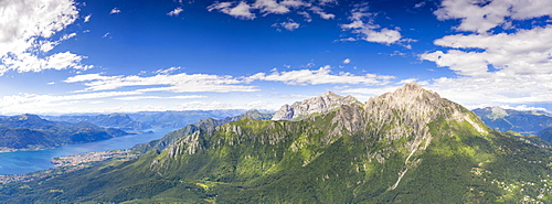 Aerial view of Grigne mountains with Abbadia Lariana and Mandello Del Lario in the background, Lake Como, Lecco, Lombardy, Italy, Europe