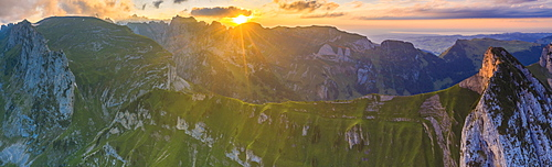 Aerial view of sunset over Santis and Saxer Lucke mountain peaks, Appenzell Canton, Alpstein Range, Switzerland, Europe
