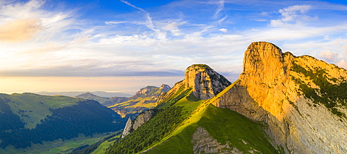 Overview of Staubern and Hoher Kasten mountains from Saxer Lucke at sunset, Appenzell Canton, Alpstein Range, Switzerland, Europe