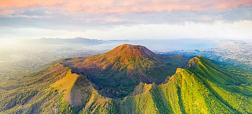 Aerial panoramic of Vesuvius volcano at sunrise, Naples, Campania, Italy, Europe