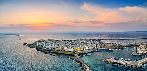 Aerial view of Gallipoli at sunset, Lecce province, Salento, Apulia, Italy, Europe