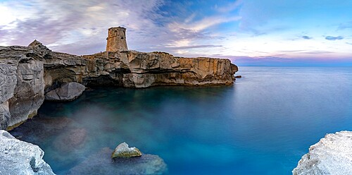 Torre Miggiano old tower and crystal sea at sunset, Santa Cesarea Terme, Porto Miggiano, Lecce province, Salento, Apulia, Italy, Europe