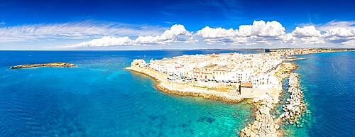 Aerial panoramic of white buildings in the seaside town of Gallipoli, Lecce province, Salento, Apulia, Italy, Europe