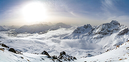 Panoramic of snow capped mountains of Upper Engadine from Piz Nair, canton of Graubunden, Switzerland