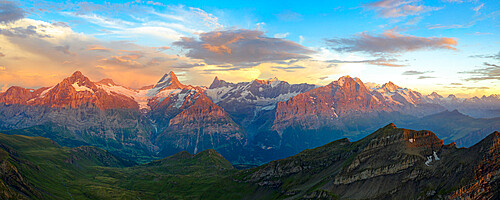 Aerial view of Wetterhorn, Schreckhorn, Finsteraarhorn, Eiger, Monch, Jungfrau mountains at sunset, Bernese Oberland, Switzerland, Europe