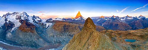 Aerial view of Breithorn, Matterhorn, Dent Blanche, Obergabelhorn, Zinalrothorn and Weisshorn, Zermatt, Valais canton, Switzerland