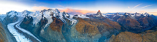 Aerial view of Gorner Glacier (Gornergletscher) and Matterhorn at dawn, Zermatt, canton of Valais, Switzerland, Europe