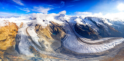 Sunny clear sky over Gorner Glacier (Gornergletscher), aerial view, Zermatt, canton of Valais, Switzerland, Europe