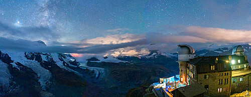 Stars over the snowcapped mountains and Kulmhotel Gornergrat, Zermatt, canton of Valais, Switzerland, Europe