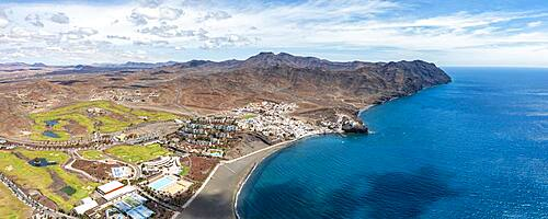 Volcanic beach of the tourist seaside town of Las Playitas, aerial view, Fuerteventura, Canary Islands, Spain - 1179-5095