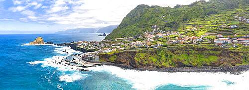 Aerial panoramic view of the seaside town and natural pools of Porto Moniz, Madeira island, Portugal, Atlantic, Europe