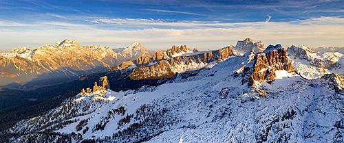 Cinque Torri, Sorapiss, Antelao, Pelmo, Averau and Lastoi De Formin mountains at sunset, aerial view, Dolomites, Veneto, Italy