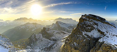 Aerial view of sunset over Mount Lagazuoi in autumn, Fanis Group, Dolomites, Belluno province, Veneto, Italy