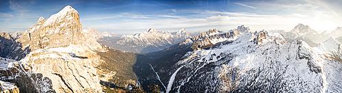 Aerial view of Tofana di Rozes, Sorapiss, Antelao, Pelmo, Nuvolau and Civetta peaks at sunset, Dolomites, Veneto, Italy
