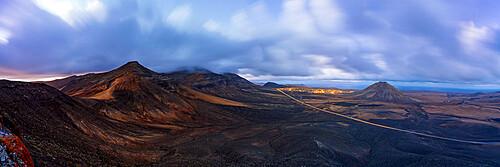 Dusk over the majestic Tindaya mountain and village in the desert landscape, La Oliva, Fuerteventura, Canary Islands, Spain, Atlantic, Europe