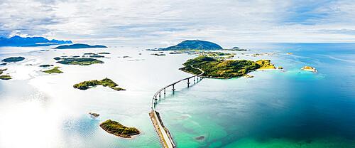 Aerial panoramic of Sommaroy bridge and crystal sea, Sommaroy, Troms county, Northern Norway