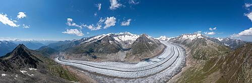 Aerial of the Unesco site great Alteschglacier, Bernese Alps, Switzerland