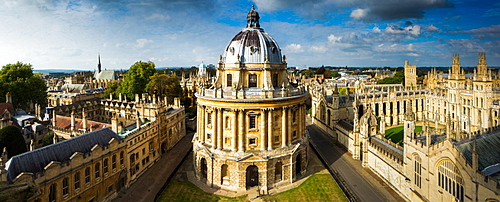 Radcliffe Camera, from St. Marys Church, Oxford, Oxfordshire, England, United Kingdom, Europe
