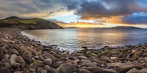Storm beach at sunrise, Minard Bay, Dingle Peninsula, County Kerry, Munster, Republic of Ireland, Europe