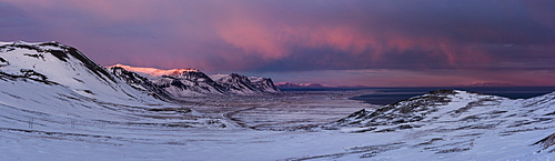 Snow covered mountains in evening sunlight, Snaefellsnes Peninsula, Iceland, Polar Regions