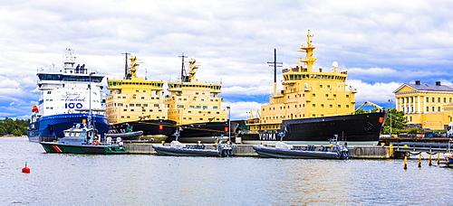 Moored ice breakers in Helsinki, Finland, Europe