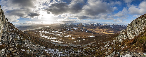 A view across the Cairngorms in Scotland from the top of Creag Dubh near Newtonmore, Cairngorms National Park, Scotland, United Kingdom, Europe