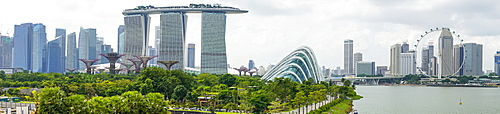 Panoramic view overlooking the Gardens by the Bay, Marina Bay Sands and city skyline, Singapore, Southeast Asia, Asia
