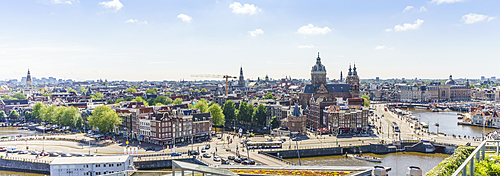 High angle view of central Amsterdam, North Holland, The Netherlands, Europe