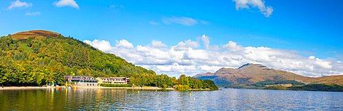 Panoramic view of Loch Lomond and Ben Lomond, Luss, Scotland, United Kingdom, Europe