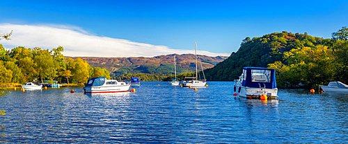 Small boats anchored, Loch Lomond, Bay at Aldochlay, Argyll and Bute, Scotland, United Kingdom, Europe