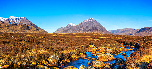 Buachaille Etive Mor, River Etive, Rannoch Moor, Western Highlands, Scotland, United Kingdom, Europe