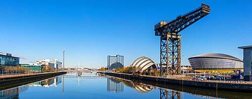 Finnieston Crane, SSE Hydro and Armadillo reflection, River Clyde, Glasgow, Scotland, United Kingdom, Europe