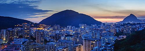 Botafogo and Humaita Neighbourhoods at twilight, elevated view, Rio de Janeiro, Brazil, South America