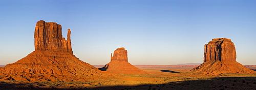 Monument Valley at sunset, Navajo Tribal Park, Arizona, United States of America, North America