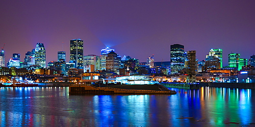 Skyline by night, Montreal, Quebec, Canada, North America