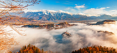 Panorama of Lake Bled in the Julian Alps of the Upper Carniolan region of northwestern Slovenia