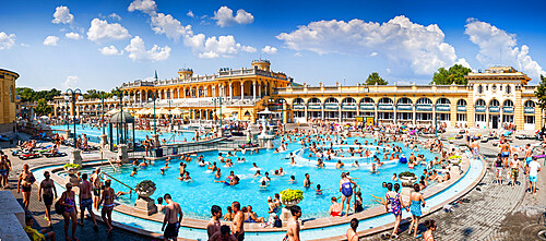 The Széchenyi Thermal Baths in Budapest, the largest medicinal bath in Europe