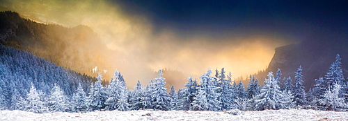 Sunrise in Ceahlaul Massif in winter, Romania, Europe