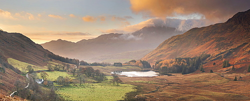 Panoramic Image of view to Blea Tarn in autumn from Side Pike, Langdale Pikes, Lake District National Park, UNESCO World Heritage Site, Cumbria, England, United Kingdom, Europe