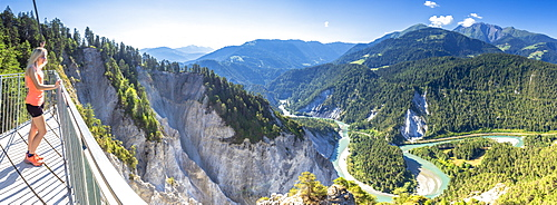Panoramic view of Rhine Gorge (Ruinaulta) from Il Spir terrace, Flims, District of Imboden, Canton of Grisons (Graubunden), Switzerland, Europe