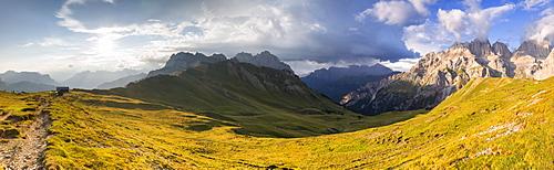 Panoramic view of San Nicolo Pass, Fassa Valley, Trentino, Dolomites, Italy, Europe